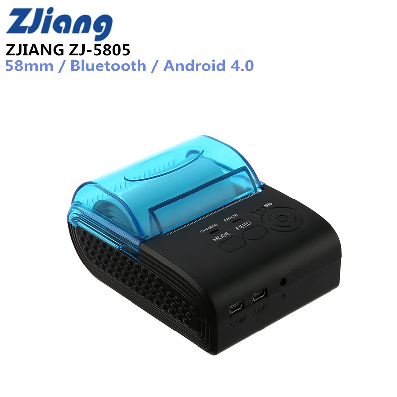 ZJIANG ZJ-5805 Pos Terminal 58mm Bluetooth Android 4.0 POS Receipt Thermal Printer Bill Machine For Supermarket EU/US/UK PLUG portable mini 80mm bluetooth thermal receipt printer pos bill printer 80mm for android pos support multi language eu us uk plug