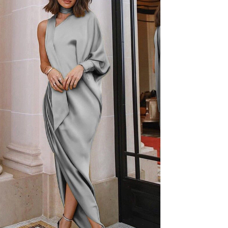 One Shoulder Dress Women Blouse Long Maxi Dress Batwing Sleeve Split Solid Halter Dresses Evening Party Dress Female Vestidos Платье