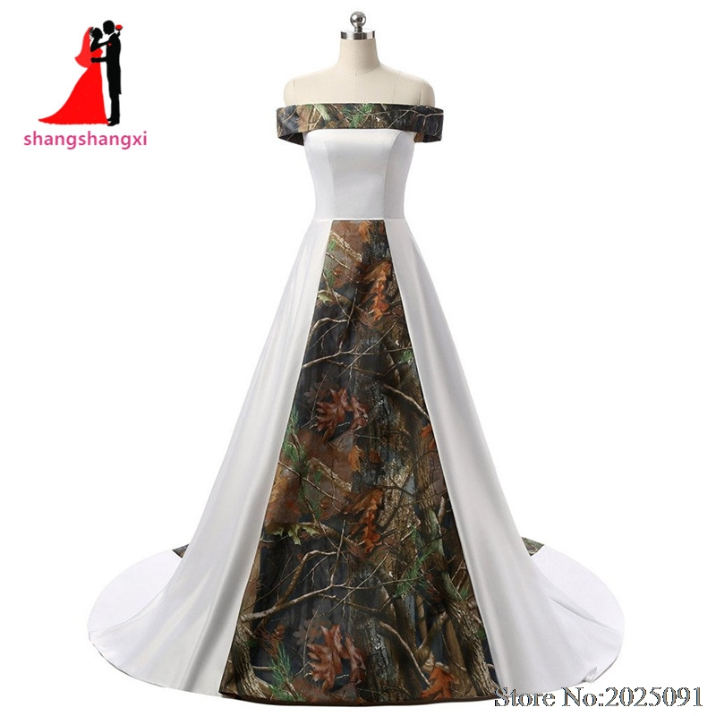2017 New Real Pictures Off-Shoulder White Satin Camouflage Wedding Dresses 2017 Camo Plus Size Bridal Gown Court Train(China (Mainland))