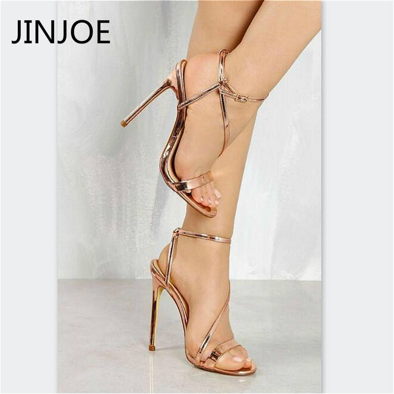 JINJOE Women High heels Sandals Shoes Woman Pumps Ladies Fashion Crystal Female Strapped Stilettos Open Toe Sandals pumps цены онлайн