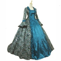18th Victorian Gown Ball Gown Print Dress Civil War Costume Renaissance Dress Plus Size Dress Black Blue Burgundy