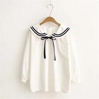 Autumn Japanese Style Women Fashion Fresh Sailor Collar Loose Long Lantern Sleeve Shirts Bow Belt Temperament Casual White Shirt