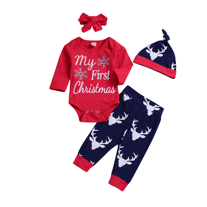NEW 4Pcs Newborn Baby Boys Girls Christmas Clothes Romper Deer Pants Hats Headband Caps Xmas Elk Outfits Toddler Baby Set in Clothing Sets from Mother Kids