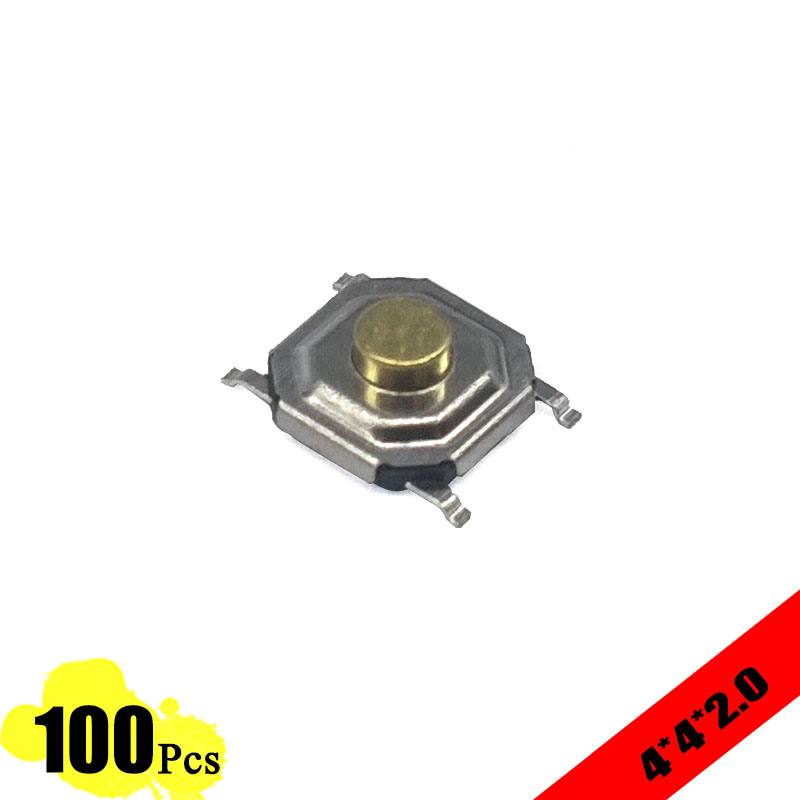 100 pcs/lot 5.2*5.2*2.0 mm 4 PIN Metal Tactile 12V Micro SMT Tact Push Button Switch High-Quality g89y high quality 50pcs lot 6x6x4 3mm 4pin g89 tactile tact push button micro switch direct plug in self reset hot sale 2017