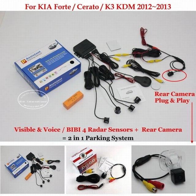 For KIA Forte / Cerato / K3 KDM - Car Parking Sensors + Rear View Back Up Camera = 2 in 1 Visual / BIBI Alarm Parking System