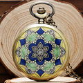 Vintage Retro Green Blue Jade Crystal Quartz Pocket Watch Women Men Necklace Pendant Chain Birthday Gift Reloj De Bolsillo P52