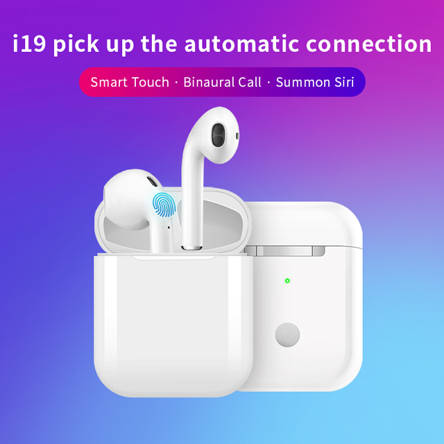<font><b>i19</b></font> <font><b>TWS</b></font> Touch Wireless Earphone 5.0 <font><b>Bluetooth</b></font> Headset Sport <font><b>Bluetooth</b></font> with Microphone Wireless Headset Earphone charging box image