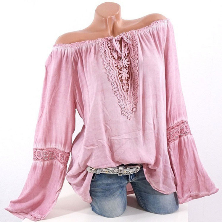 women blouse fashion hollow out female ladies vintage clothing womens long sleeve slash neck top shirt top