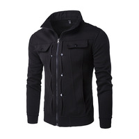 Men S Autumn And Winter Personalized Stand Collar Fold Buckle Zipper Design Sweater Coat