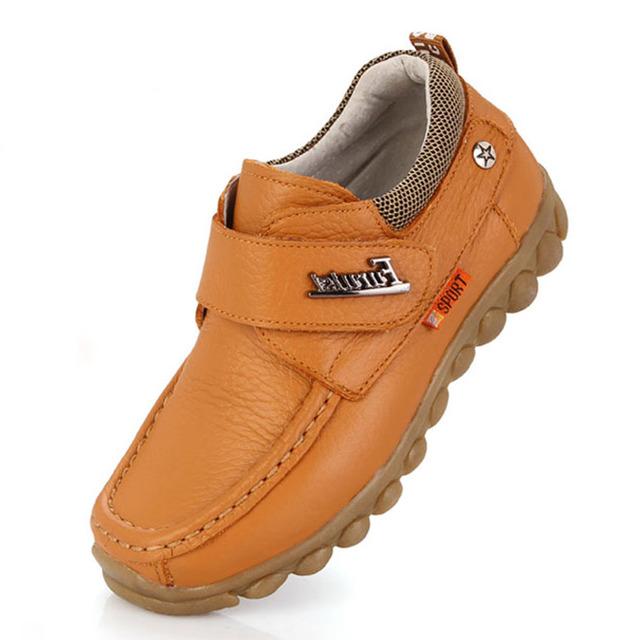 Lujo de cuero genuino niños shoes shoes 2017 niños mocasines de cuero niños enredaderas niños ocio holgazanes chaussure garcon