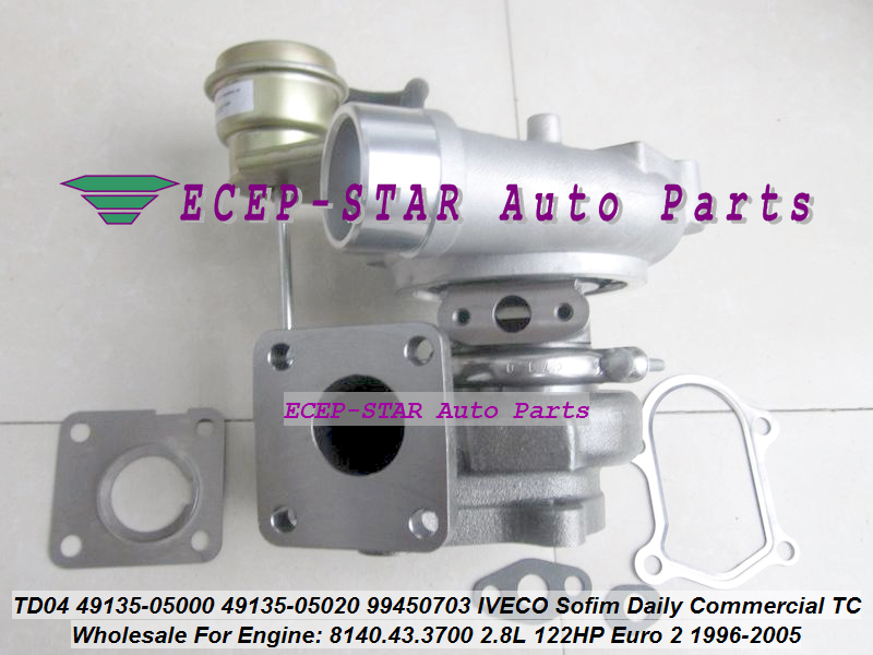 Livraison gratuite TD04 49135-05000 49135-05020 99450703 Turbo turbocompresseur pour IVECO Sofim Daily Commercia 49.12 59.12 8140.43.3700 2.8L