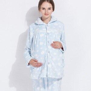 Image 2 - רגש אמהות חורף יולדות פיג מת הנקה הלבשת סטי הריון Nightwear חליפת פיג מה עבור בהריון נשים