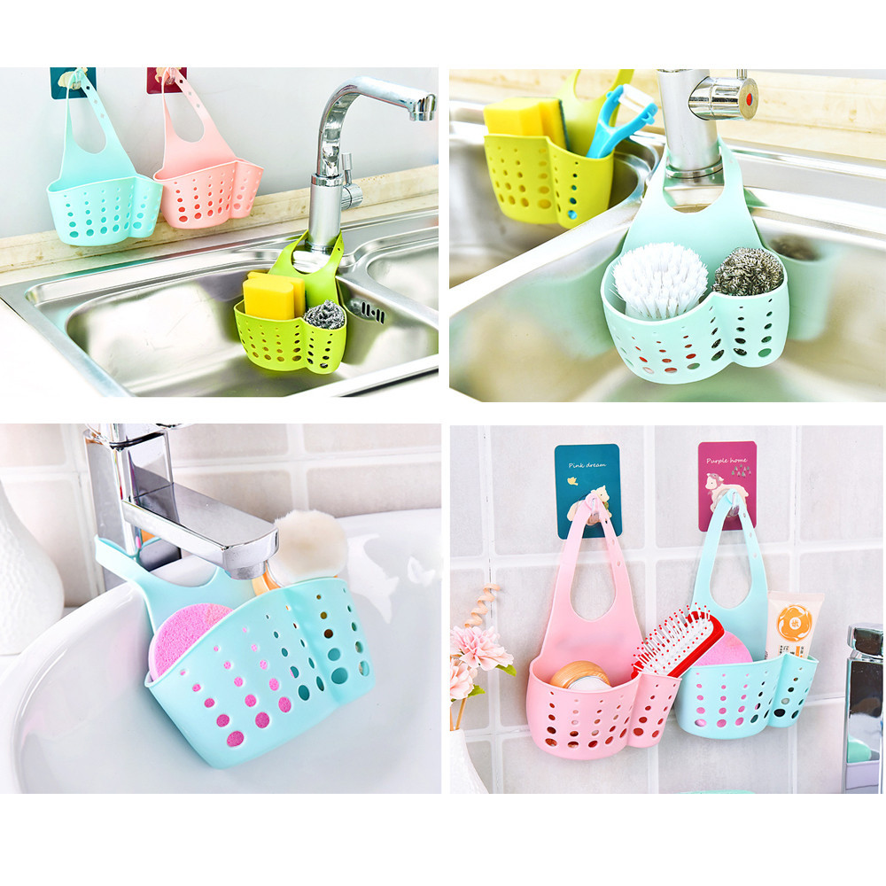 BathroomKitchen Gadgets Basket Portable Hanging Drain Basket Bag  Storage Bath Tools Sink Holder Kitchen Accessory Utensils C517