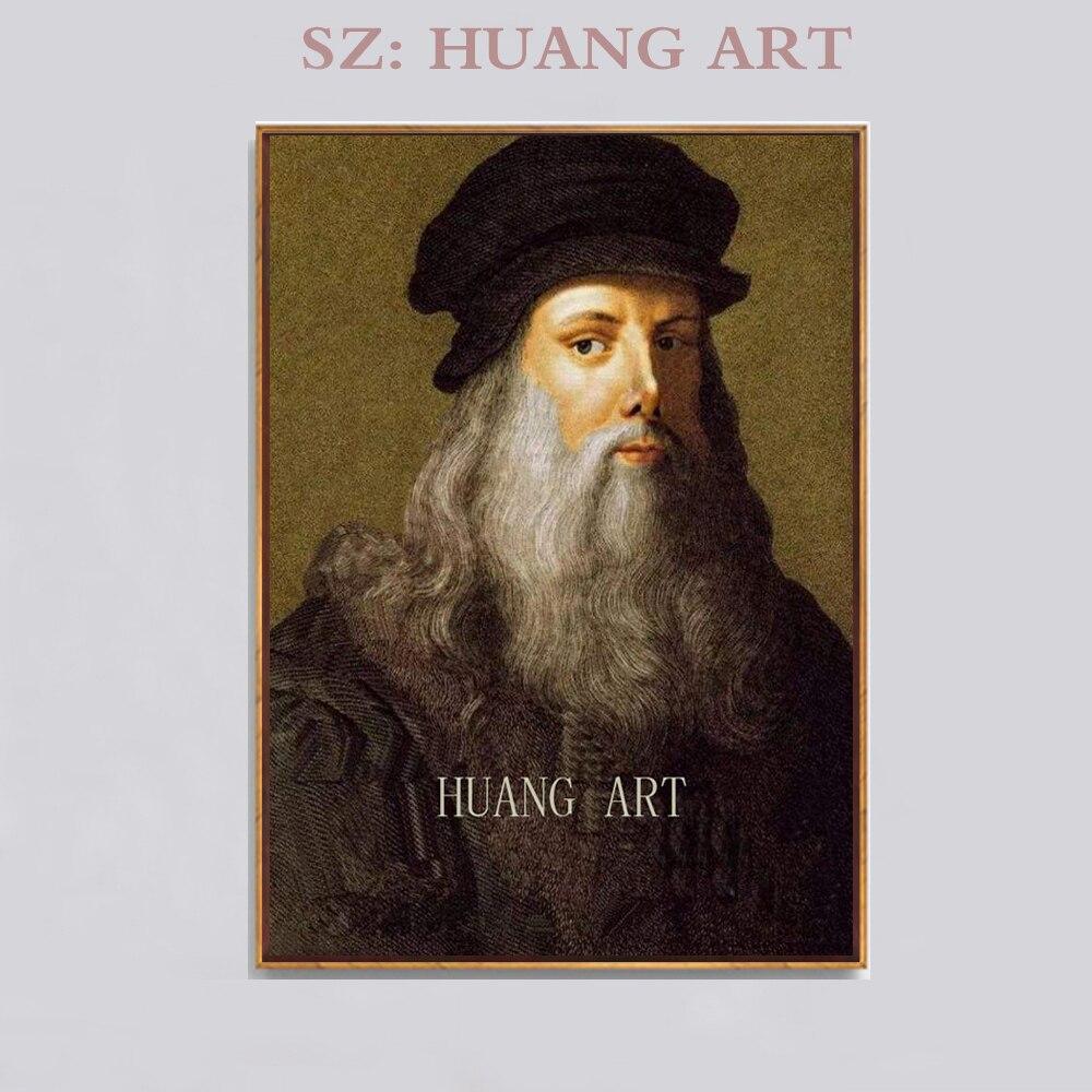 Figure célèbre peintre leonardo Da Vinci peinture portrait réaliste de peinture à l'huile peinte à la main dans le club de décoration de haute qualité