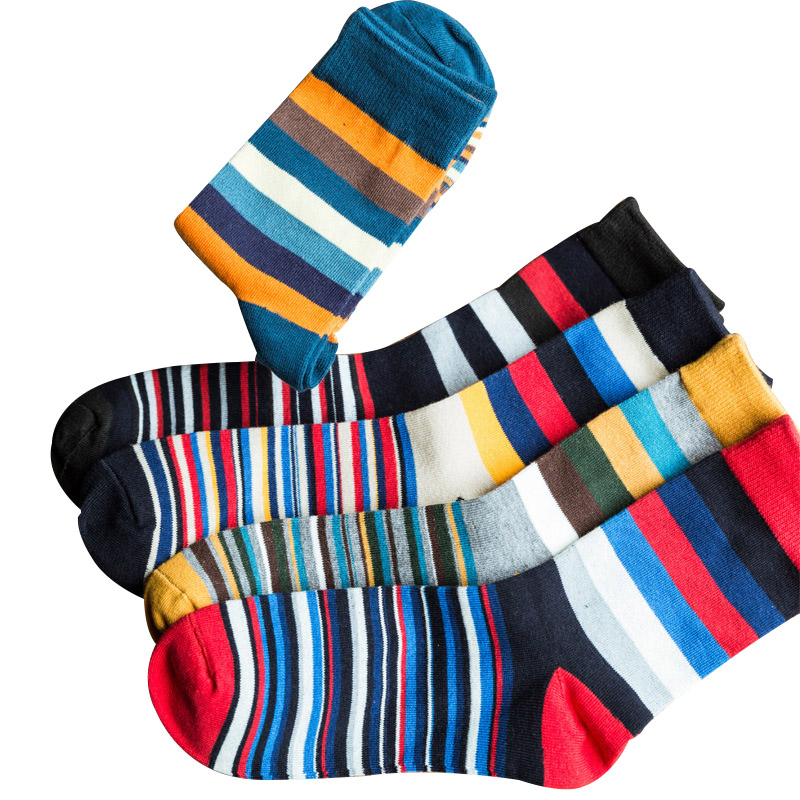 New Casual Men's Socks Colorful Stripe Business Cotton Soft Spring Autmn Dress Happy Socks