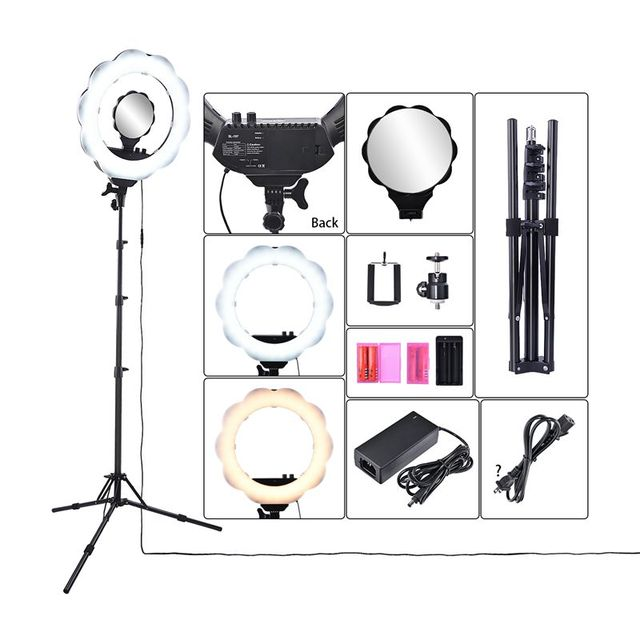 Fusitu Photo Studio Lighting LED 3000K-6000K Bi-color Dimmable Camera Phone Photography Ring Light Lamp with Tripod Mirror
