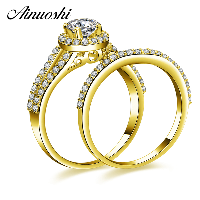Ainuoshi 10k Solid Yellow Gold Round Halo Ring Set 0 5ct Round Cut