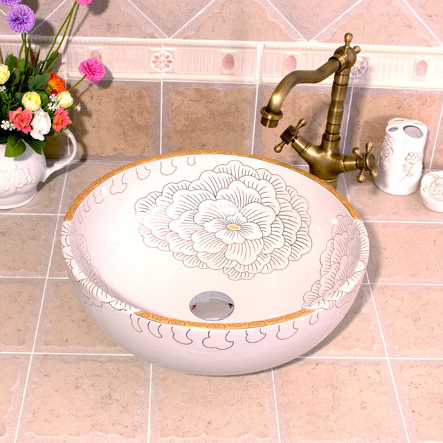 Peony Painting China Artistic Handmade Ceramic Bathroom Sinks Lavobo