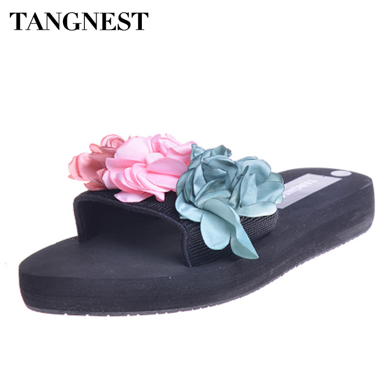 Tangnest 2018 Summer NEW Floral Slippers Fashion Slip-on Slides Shoes Casual Platform Flats Lady Creepers Beach Slippers XWT751 akexiya mesh wedges sandals summer gladiator sandals platform shoes woman slip on creepers slippers gold silver slides