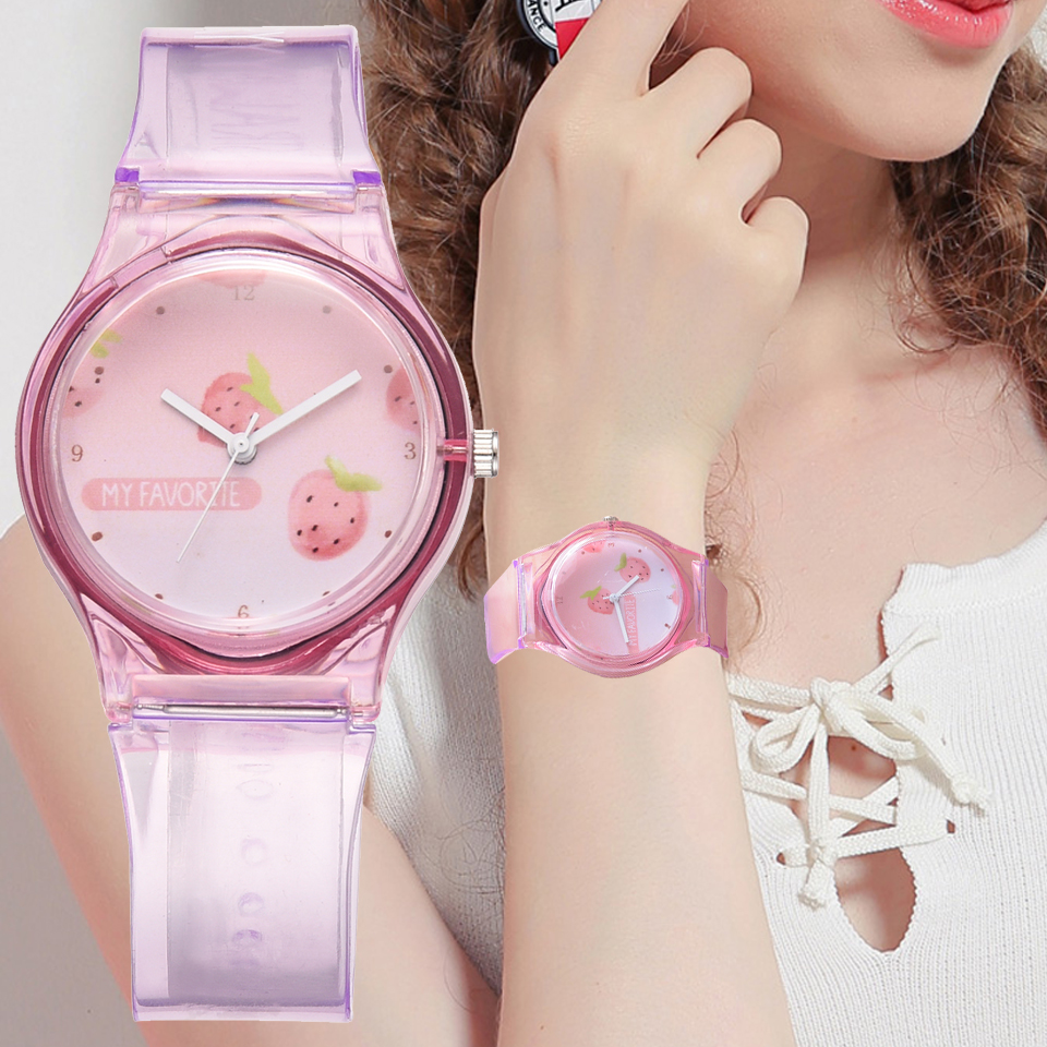 New Transparent Strawberry Cartoon Lovely Girls Women Dress Wrist Watches Sport Casual Pink Quartz Ladies Watches Gift Clock