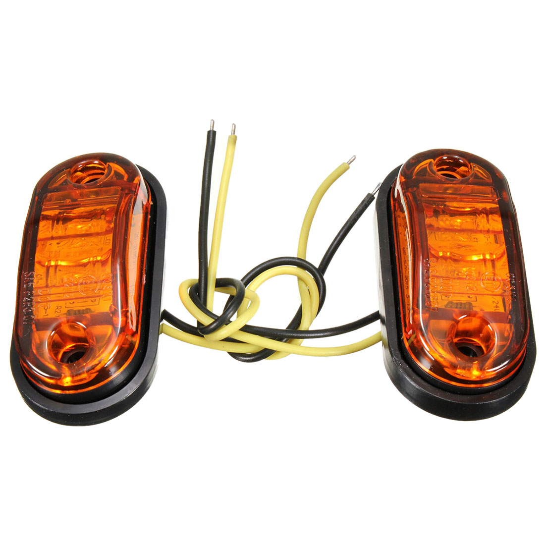 2 Light Led footprint Side Auto Truck Camper Trailer Van Amber