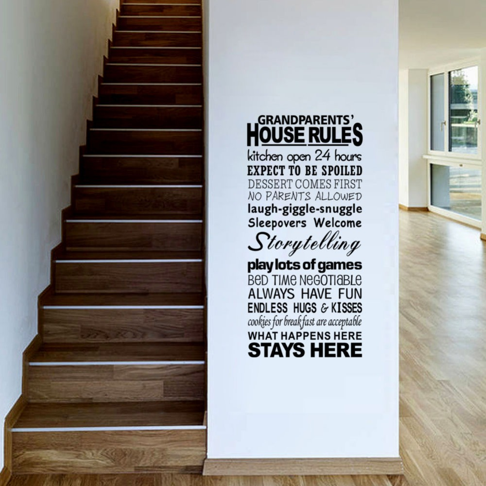 Removable Grandparents House Rules wall stickers Decal Art Vinyl ...