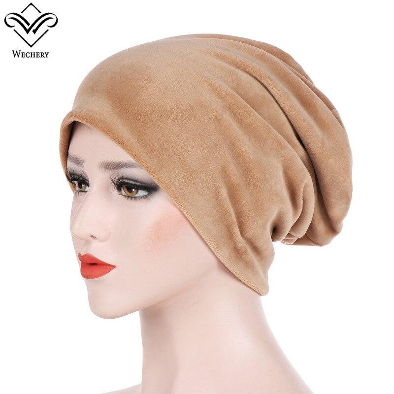 Wechery Fur Winter Turban Hijab Caps For Muslim Islamic Women Fashion Velvet Hat Dubai Saudi Middle East Caps Female