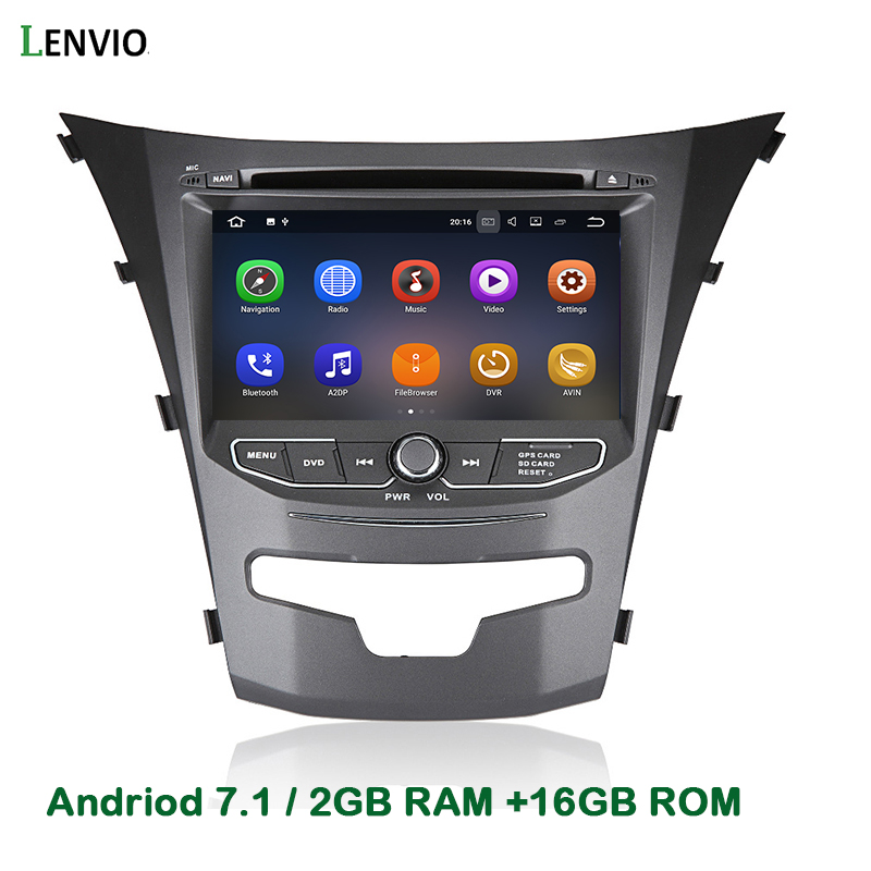 Lenvio 2GB RAM 2 Din Android 7.1 CAR DVD GPS Navigation Player For Ssangyong Actyon Korando 2014 2015 Quad Core Radio WIFI DAB image
