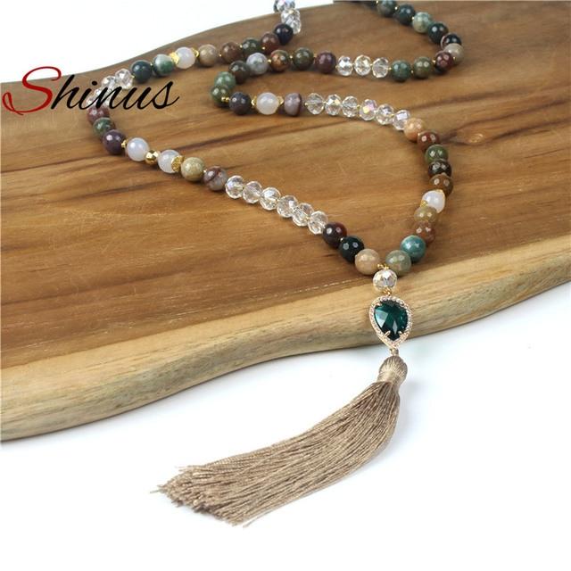 de8c1804a2a9e4 Shinus Necklace Long Necklaces Women Bohemian Jewelry Mala Beads Handmade Long  Tassel Boho Jewellery Crystal Pendant Fashion New