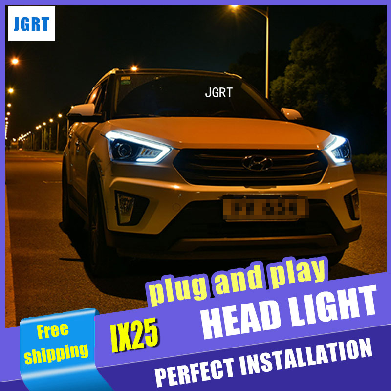 Car Styling For hyundai ix25 headlight assembly For hyundai ix25 LED head lamp Angel eye led light H7 with hid kit 2pcs hireno headlamp for 2015 2017 hyundai ix25 crete headlight headlight assembly led drl angel lens double beam hid xenon 2pcs