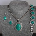 Hot Sale 1 Set Vintage Classic Pendant Necklace Earrings Bracelet Jewelry Set For Woman