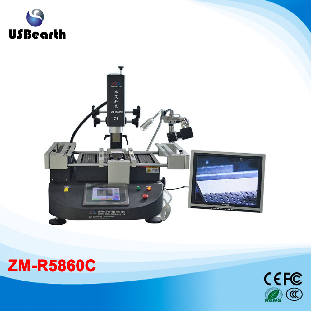 ZhuoMao ZM-R5860C Infrared & Hot air BGA Rework Station soldering station with CCD camera and monitor zhuomao zm r5830 three temperature zones hot air bga rework station with touch screen control panel free tax to eu