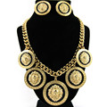 Women Gold plated Lion pattern jewelry sets Trendy boho necklace with earrings statement necklace for party wedding fashion 2016