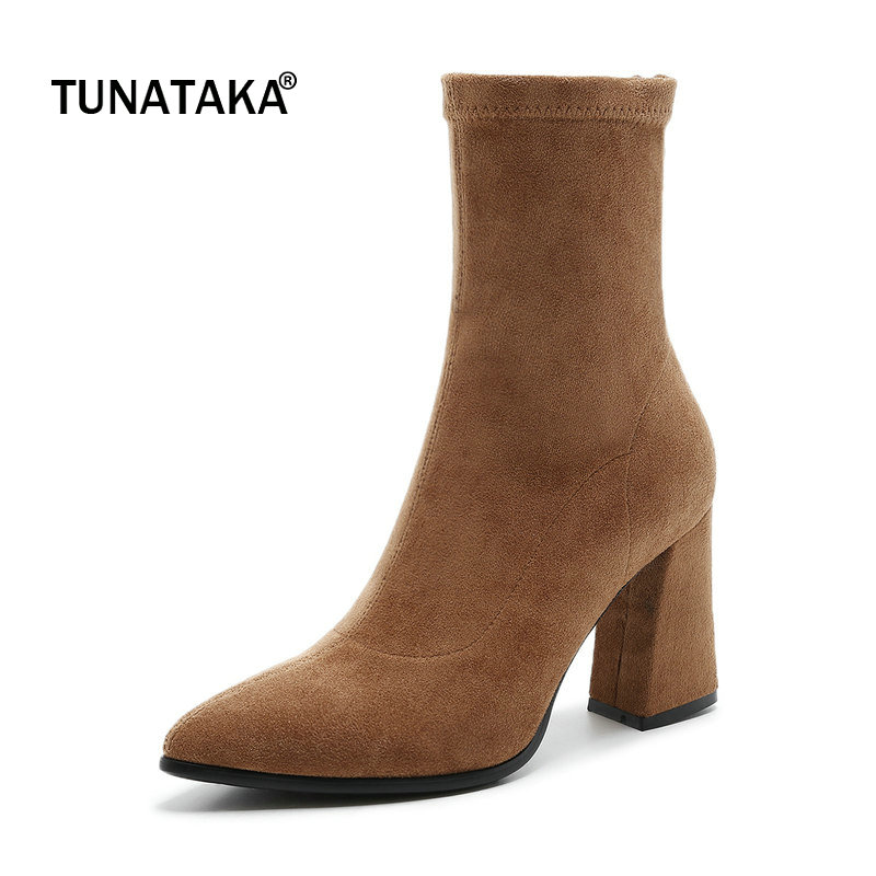 Suede Hoof High Heel Pointed Toe Woman Ankle Boots Fashion Back Zipper Party Boots Woman Winter Black Brown Red