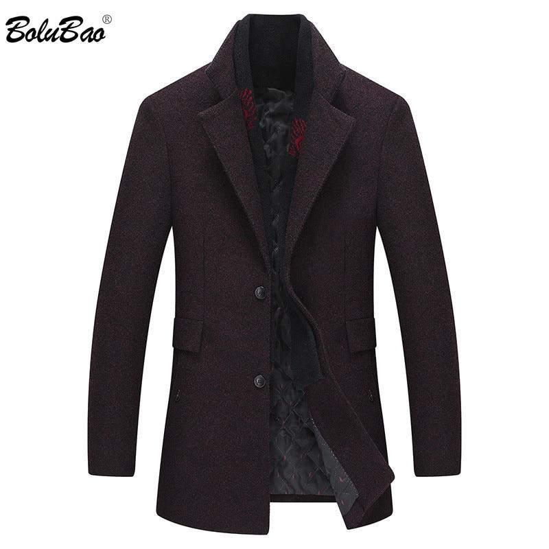 Erkek Kıyafeti'ten Yün ve Karışımları'de BOLUBAO Erkekler Kış Yün Ceket erkek Moda Marka Katı Renk Sıcak Kalın Yün Karışımları Yün Bezelye Ceket Erkek Siper ceket Palto'da  Grup 1
