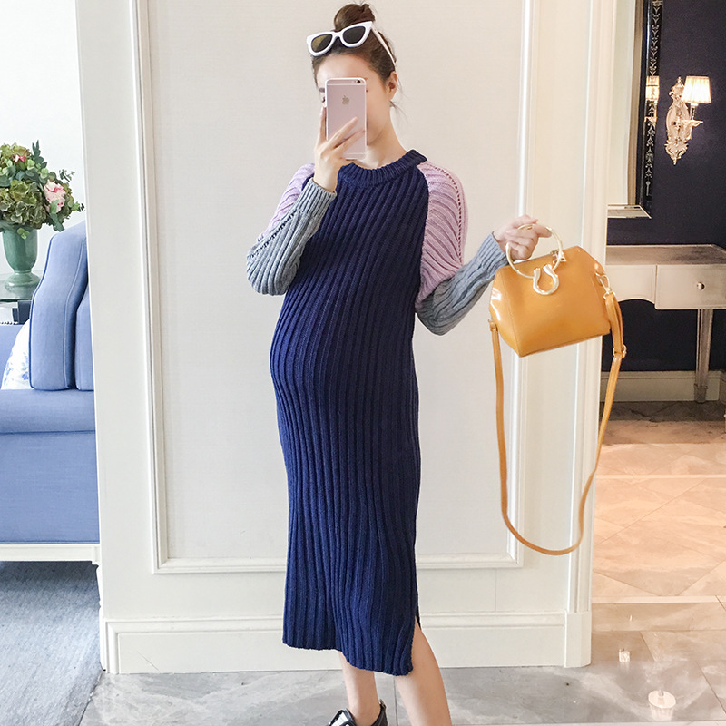 Long Party Dresses Pregnant Women Autumn Winter Loose Fashion High Elasticity Contrast Color Long-sleeved Knit Maternity Dress