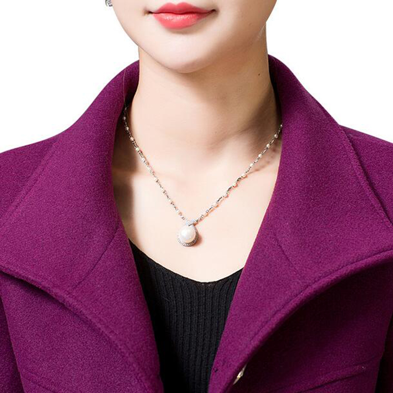 Middle Aged Women Wool Coat Nice Autumn Winter Mother Fashion Slim Long Sleeves Wool Coat High Quality Solid Color Coat LU211 - 5