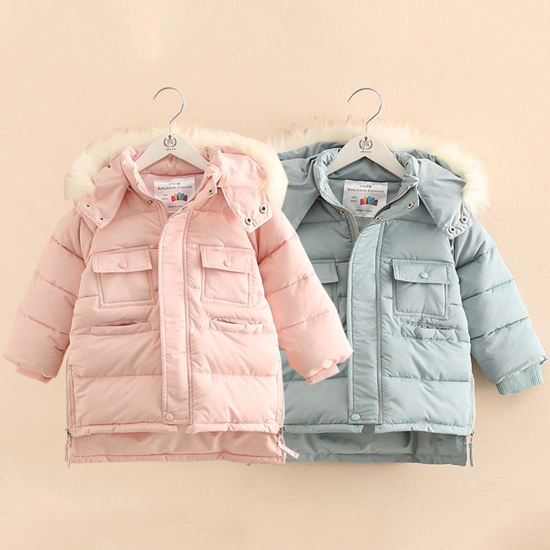 Baby Girl Coats And Jacket 2018 Winter Warm 3-9 10 11 12 Years Teenager Kids Gift Wadded Cotton Padded Thickening Hooded Jacket 2015 new mori girl medium long thickening with a hood color block decoration cotton padded jacket wadded jacket