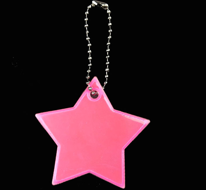 Маленькая звезда сумка брелок милый мягкий ПВХ отражающий брелок, подвеска для машины Шарм сумка Аксессуары для безопасности дорожного движения использования - Название цвета: pink