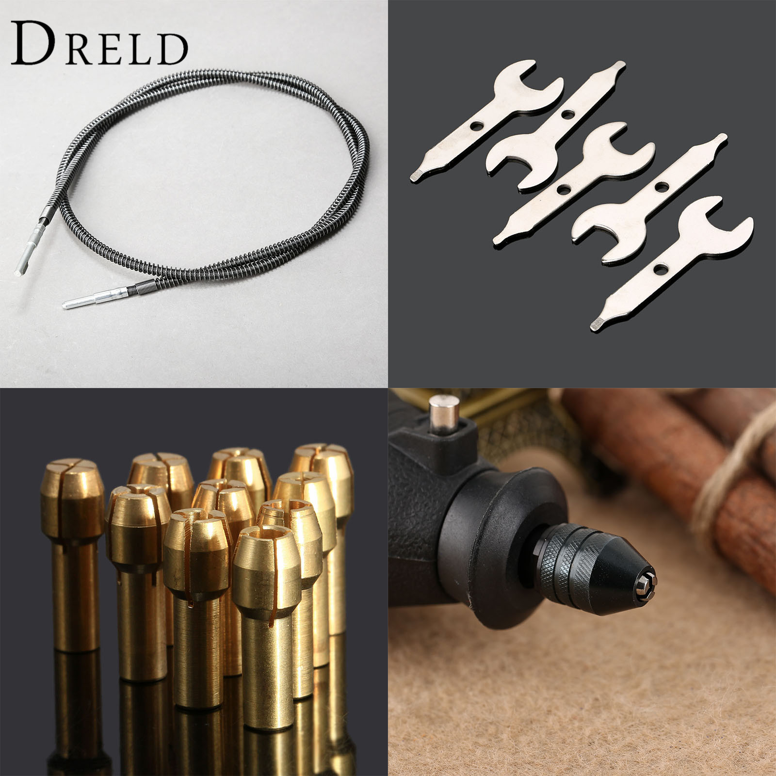 Dremel Accessories 0.5-3.2mm Brass Collets Tools+ Multi Keyless Drill Chuck +Flexible Shaft +Grinder Spanner Rotary Grinder Tool flexible extension cord shaft rotary grinder tool m8 keyless chuck aluminum flex shaft for grinding tools