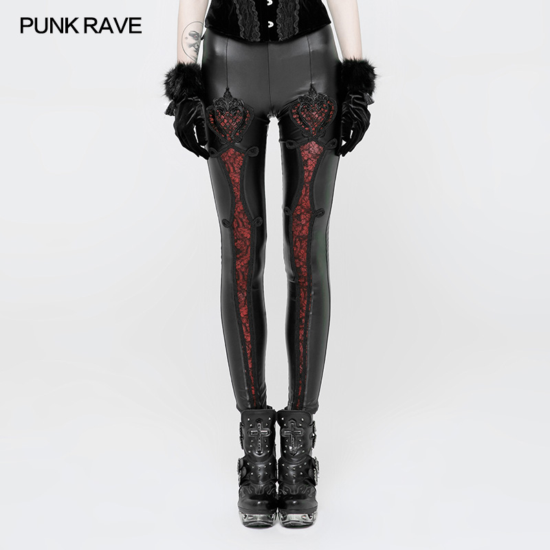 PUNK RAVE Gothic Elastic Waistband Flowers Embroidery Leather   Leggings   Vintage Embossed Mesh Lace Club Party Sexy Women Pants