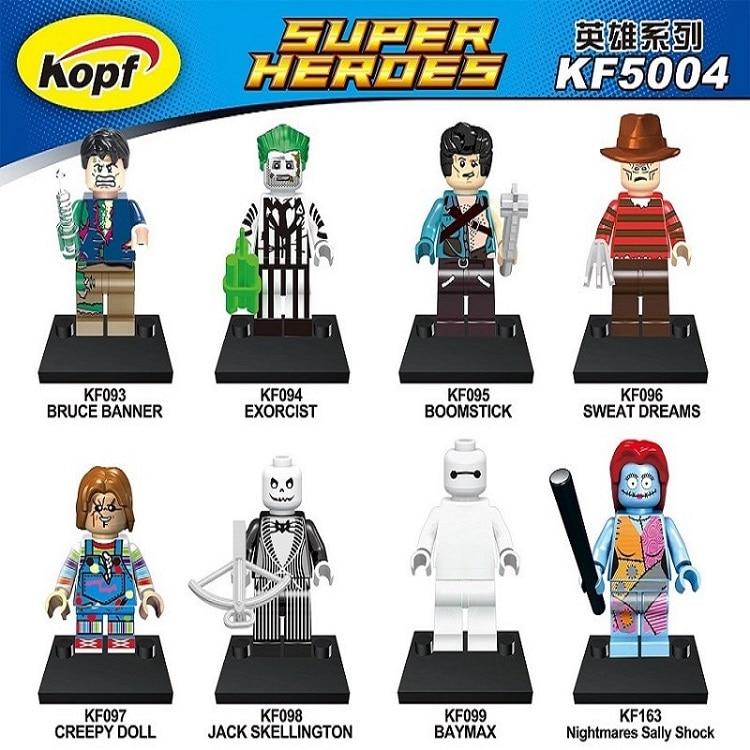 Building Blocks Super Heroes Boomstick Bruce Banne Baymax Creepy Doll Blo Exorcist Nightmares Sally Shock Children Toys KF5004