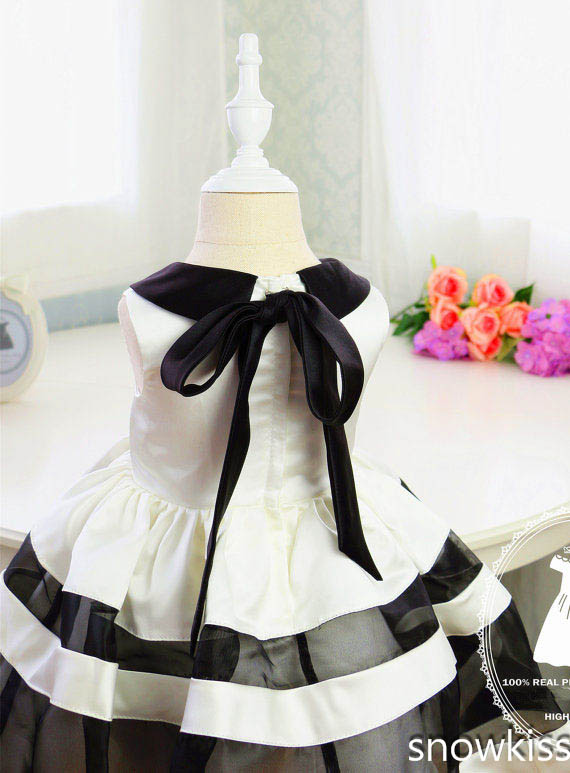 Basic Style White And Black Stripes Baby First Birthday Dresses