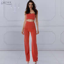 2019 New Women 2 Piece Set Tank Leggings Orange off the Shoulder Sleeveless Strapless Celebrity Party Top and Pants Wholesale