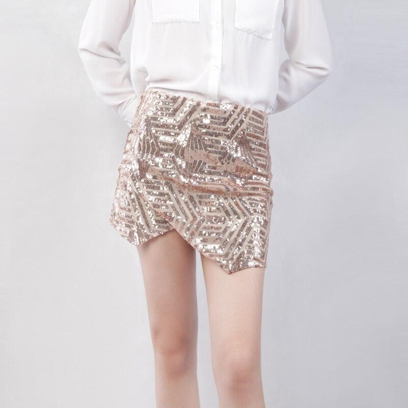 7a39f7fe0476 MINSUNDA Asymmetrical Hem Overlap Sequined Skirt Golden Mid Waist Short  Bodycon Skirt Women Elegant Office Ladies