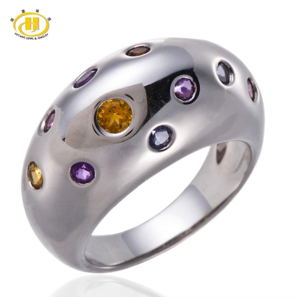 Здесь продается  Hutang Romantic Multi-color Gemstones Solid 925 Sterling Silver Ring Fine Jewelry Citrine Amethyst Garnet Mother
