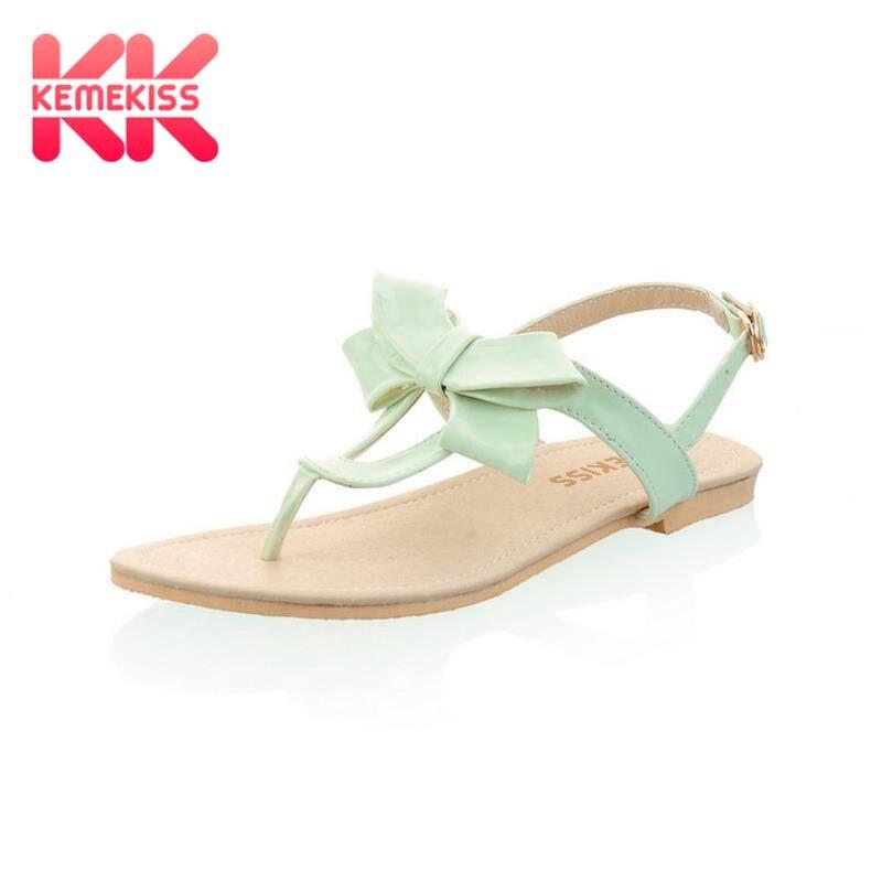 3fcefd5f759 T-Strap Colorful Beach Flat Heel Sandals Shoes Women Summer Sandals Ribbon  Sweet Lady Leisure Shoes Footwear Size 34-43 PA00491