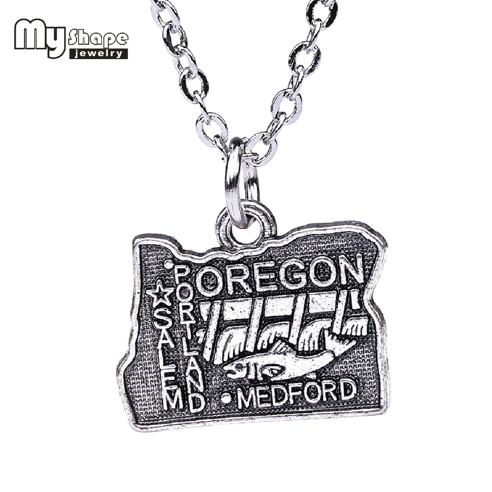 My shape Jewelry Map Necklaces & Pendants Antique Silver Color Vintage Wholesale Oregon State Map Necklace Women Men Jewelry