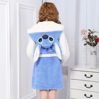 Cute Animal Stitch Bathrobe Night Robe Bath Robe Homewear Long Sleeve Hooded Cotton Robe Casual Dressing Gown For Women
