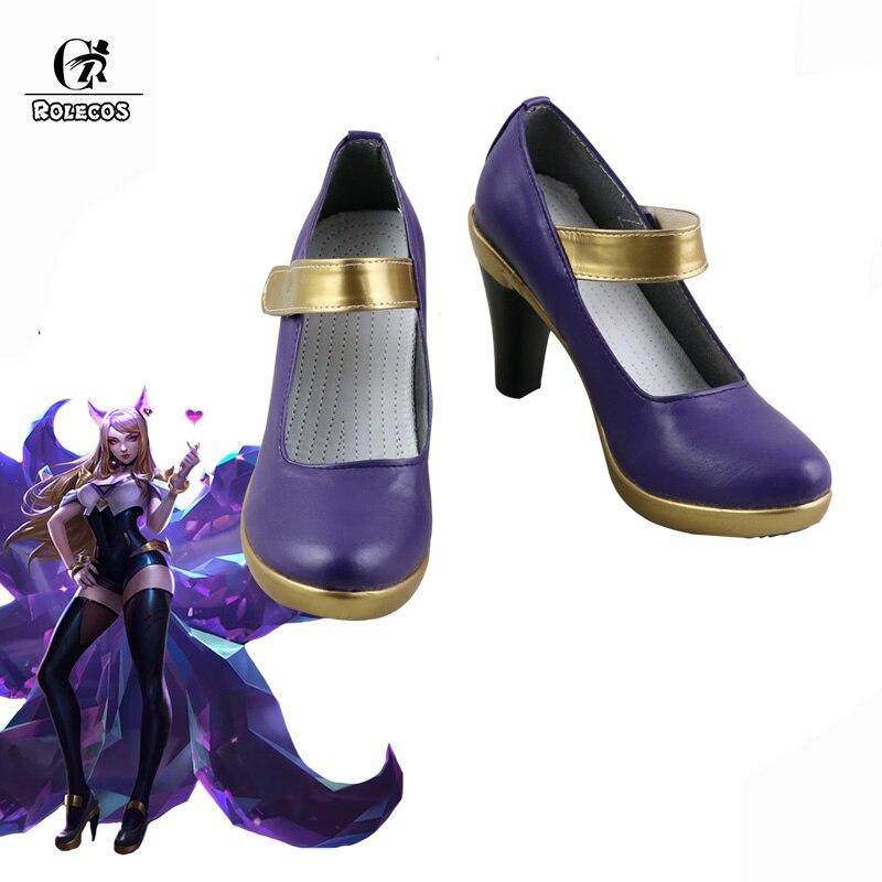 ROLECOS кДа AHRI Косплэй обувь LOL K/DA Косплэй игры туфли на высоком каблуке для Для женщин LOL Ари фиолетовый Gloden 9 см туфли на высоком каблуке